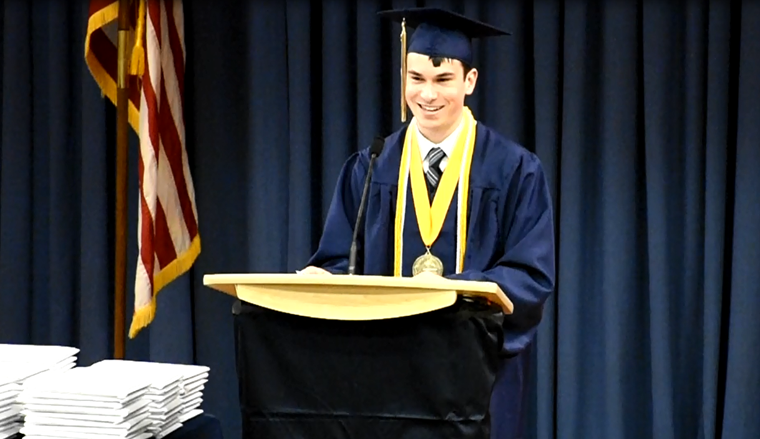 Valedictorian address photo.
