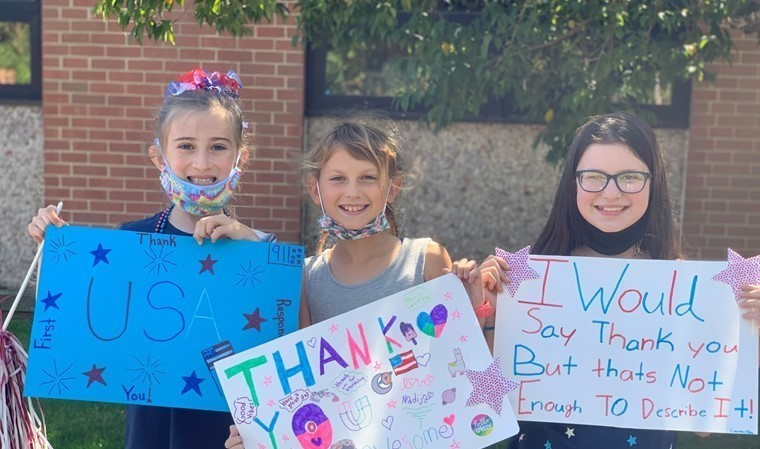 Students thanking first-responders!